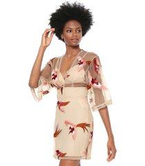 vestido colcci curto slim bege/rosa