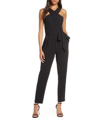 women's eliza j cross neck belted crepe jumpsuit, size 6 - black