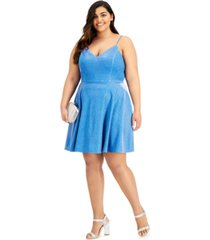 city studios plus size glittering fit-and-flare dress