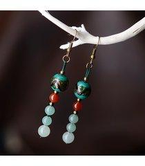 perle di pietra naturali etniche orecchini pendenti lunghi pendenti in argento con ciondoli a forma di agata vintage per le donne