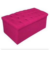 calçadeira recamier baú solteiro 90cm sofia suede pink - ds móveis
