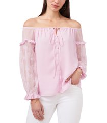 vince camuto embroidered off-the-shoulder top