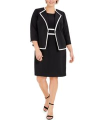 le suit plus size colorblocked wing-collar jacket and dress suit