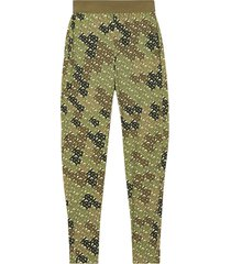 burberry monogram print stretch jersey leggings - green