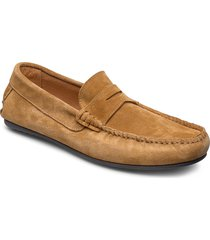 slhsergio penny drive suede shoe w loafers låga skor brun selected homme