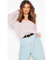 cropped fisherman v neck sweater, lilac