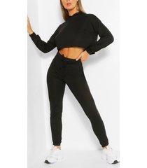soft melange hoodie & jogger lounge set, black