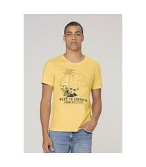 camiseta masculina slim - amarelo