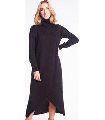 swetrowa sukienka z golfem estelle czarna