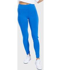 calza reebok te linear logo legging azul - calce ajustado