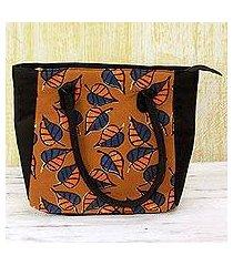 batik cotton tote handbag, 'ginger leaves' (india)