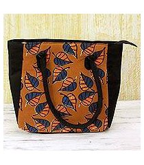 batik cotton tote handbag, 'ginger leaves' (india)