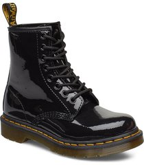 1460 w black patent lamper shoes boots ankle boots ankle boot - flat svart dr. martens