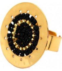 anillo imperial baño oro tejido negro/dorado bijulovers
