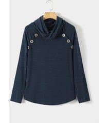suéter de manga larga y cuello alto azul marino diseño de ypins