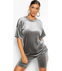 velvet top and cycle short co-ord set, grey
