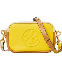 tory burch perry bombe color block leather crossbody bag - yellow