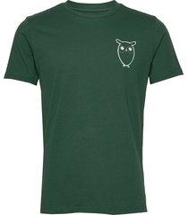 alder owl chest tee - gots/vegan t-shirts short-sleeved grön knowledge cotton apparel
