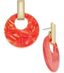 alfani gold-tone & marble-look doorknocker drop hoop earrings, created for macy's
