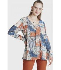 blusa manga larga estampada terracota curvi