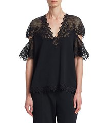 lace-accented flutter-sleeve top