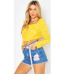 broderie anglaise peasant top, yellow