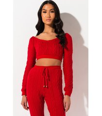 akira slimmi cable knit crop top