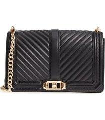 rebecca minkoff 'chevron quilted love' crossbody bag - black
