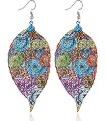 orecchini con foglie colorate bohemian fashion metal original design unico orecchini pendenti per le donne