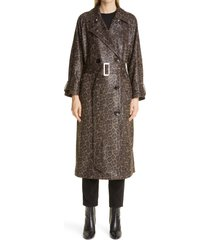 women's stand studio shelby animal print faux leather trench coat, size 10 us - brown