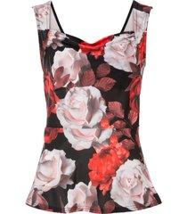 top a fiori (nero) - bodyflirt boutique