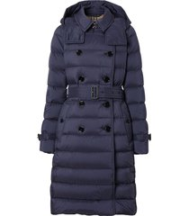 burberry double breasted padded coat - blue