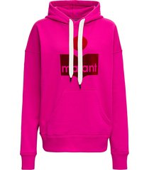 isabel marant étoile pink jersey hoodie with logo print