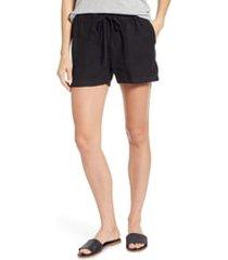 women's caslon linen shorts, size xx-large - black
