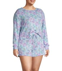 catherine malandrino women's plus tie-dye 2-piece top & shorts set - blue combo tie dye - size 2x (18-20)