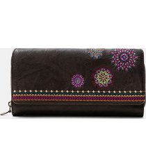 rectangular wallet embroidered flap - brown - u