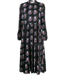 la doublej persephone tiered midi dress - black
