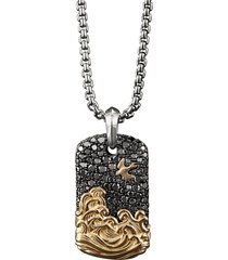 'waves' diamond silver 18k yellow gold dog tag pendant