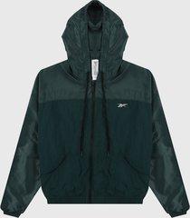 chaqueta verde petroleo reebok shiny woven