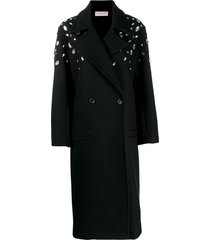 christopher kane crystal gem wool coat - black
