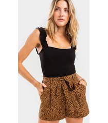 women's connie soft satin shorts in brown by francesca's - size: 3x
