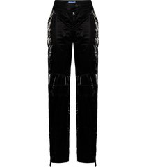 mugler crinkle-effect straight-leg trousers - black