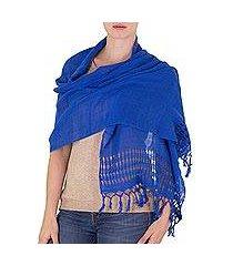 cotton shawl, 'royal blue dream' (nicaragua)