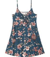 zaful cami tied vestido de playa con abertura de corte floral