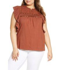 plus size women's caslon embroidered yoke lace trim ruffle top, size 3x - brown