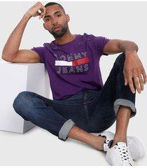 camiseta morado-azul-blanco-rojo tommy jeans