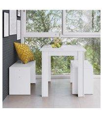 conjunto mesa fixa com 2 bancos móveis canção branco