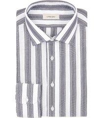 camicia da uomo su misura, canclini, cotone rigato blu scuro, quattro stagioni | lanieri