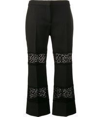 alexander mcqueen lace insert cropped trousers - black