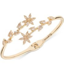 lonna & lilly gold-tone crystal hinge open bypass bracelet